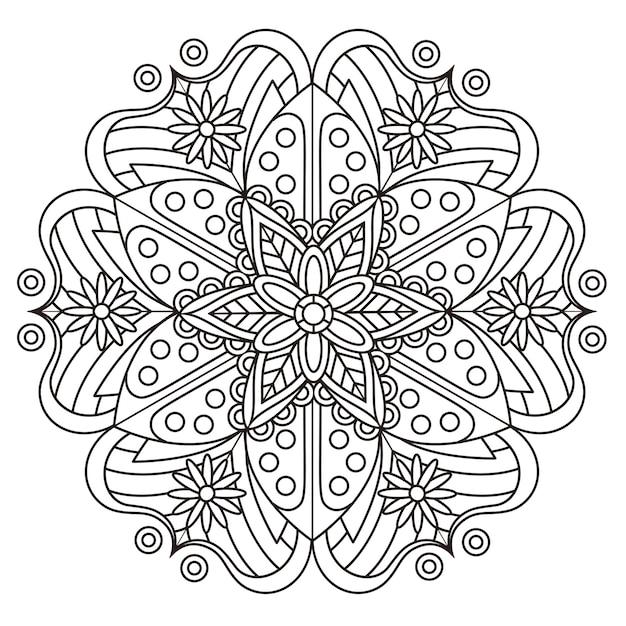 Exquisito diseño de patrón de mandala en blanco y negro. Vector Premium