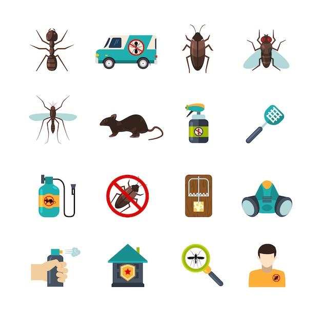 Exterminador pest control flat icons set vector gratuito