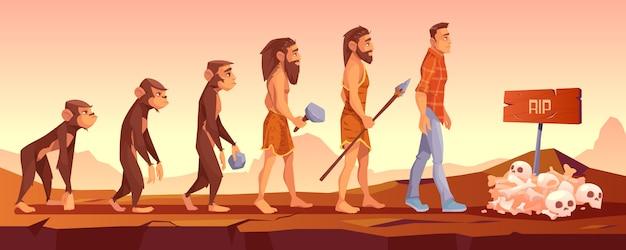 Extinción de especies humanas, línea de tiempo de evolución. vector gratuito