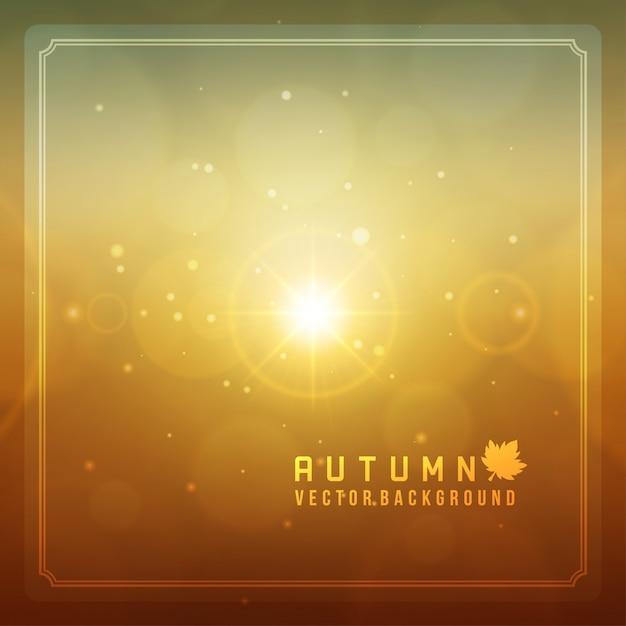 El extracto del otoño empañó el fondo de las llamaradas de la lente ligera del bokeh y del sol. Vector Premium
