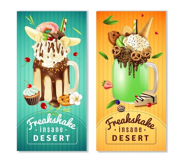 Extreme freakshake insane dessert banners set vector gratuito