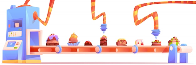 Fábrica de dulces, fabricación de producción de chocolate vector gratuito