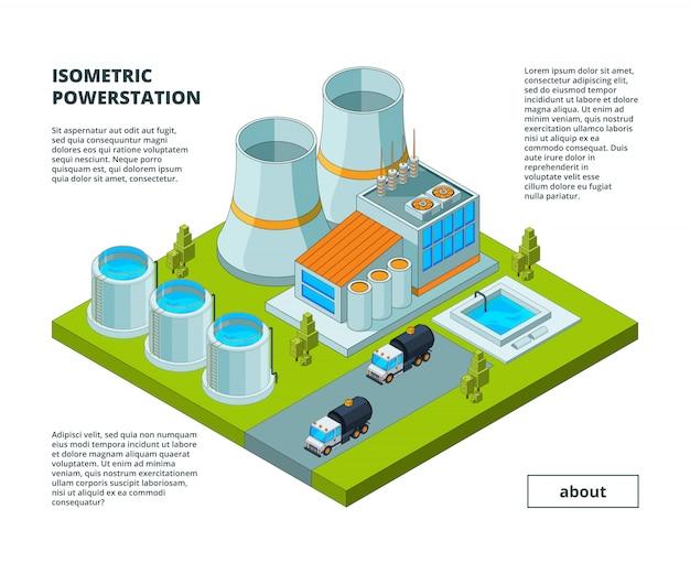 Fábrica eléctrica, planta de energía, herramientas de generación eléctrica, edificios con turbinas, tubos, producción, soporte, edificios isométricos Vector Premium