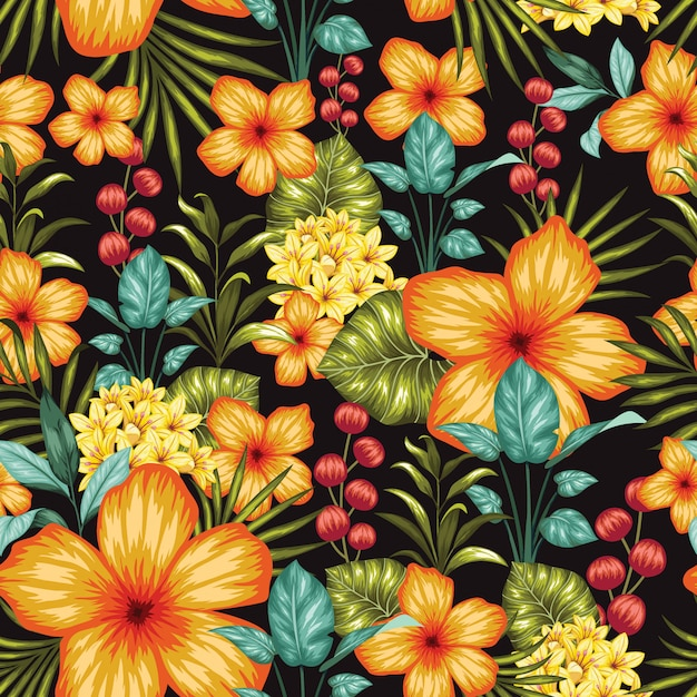 Fabuloso colorido floral transparente Vector Premium