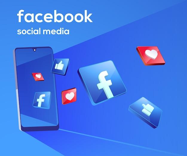 Facebook 3d iconos de redes sociales con símbolo de teléfono inteligente Vector Premium