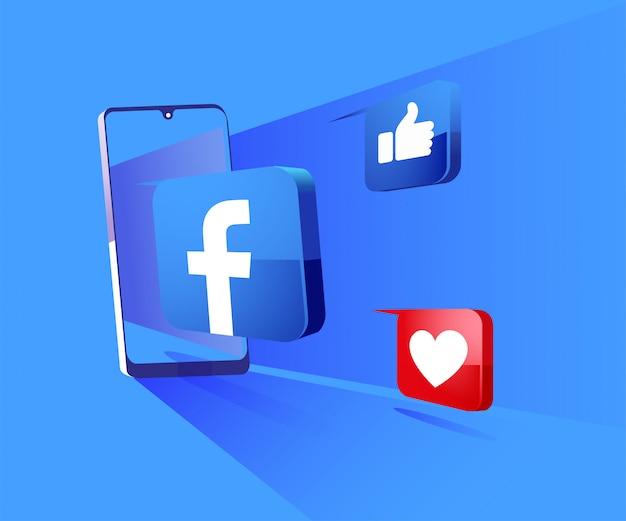 Facebook 3d redes sociales con ilustración de símbolo de teléfono inteligente Vector Premium