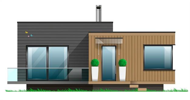 Fachada de una casa moderna con terraza vector premium for Casa moderna gratis