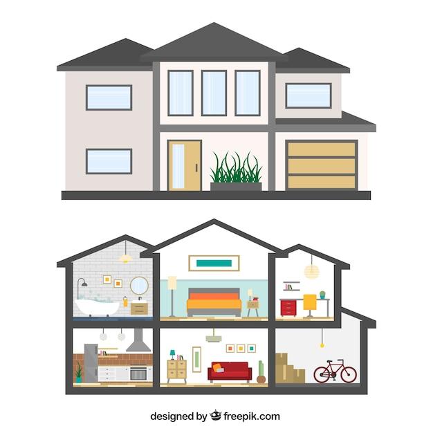 fachada de casa e interior descargar vectores gratis
