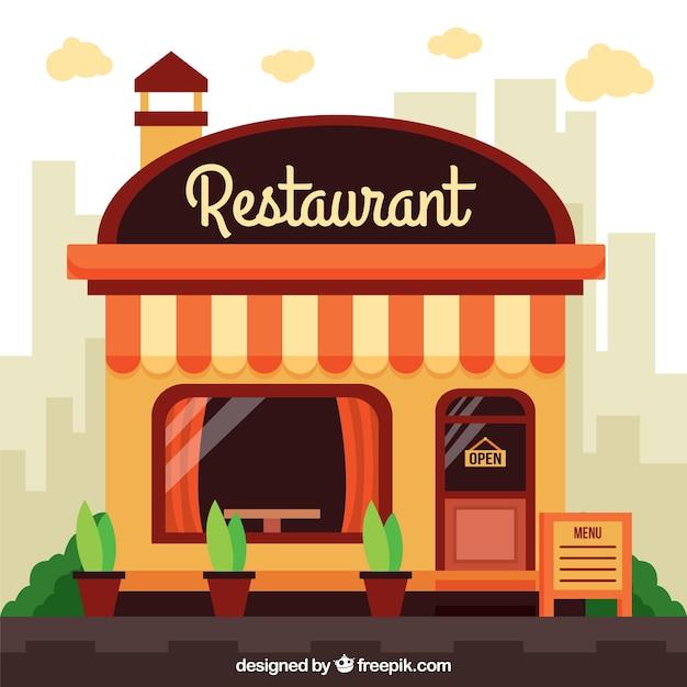 Fachada de restaurante en dise o plano descargar for Fachada para restaurante