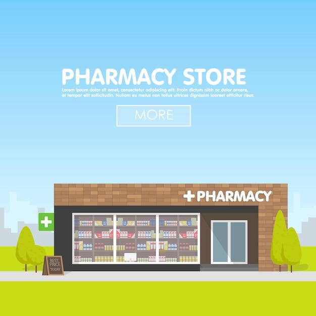 Fachada de farmacia en lo urbano, venta de medicamentos y pastillas. Vector Premium