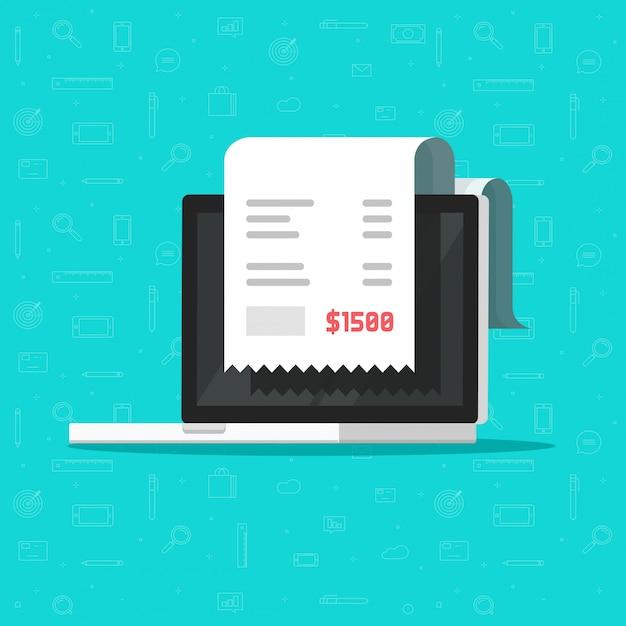 Factura en papel o recibo de impuestos en una computadora portátil o pago en línea Vector Premium