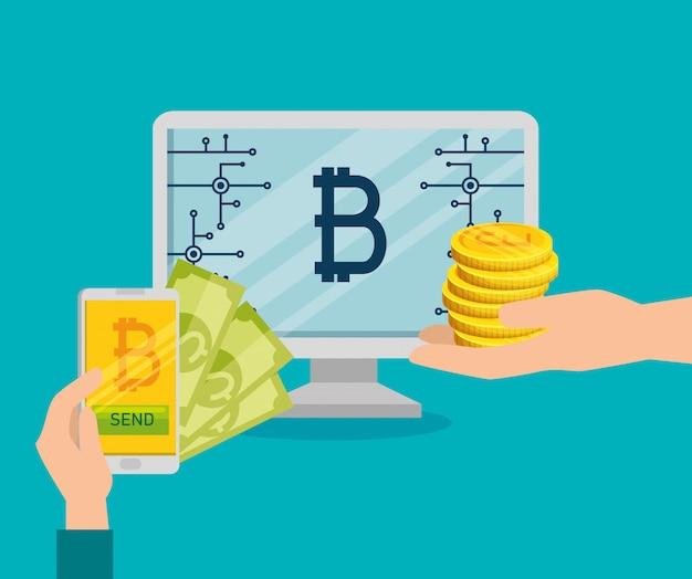 Facturas de intercambio de computadoras y teléfonos inteligentes por bitcoins vector gratuito
