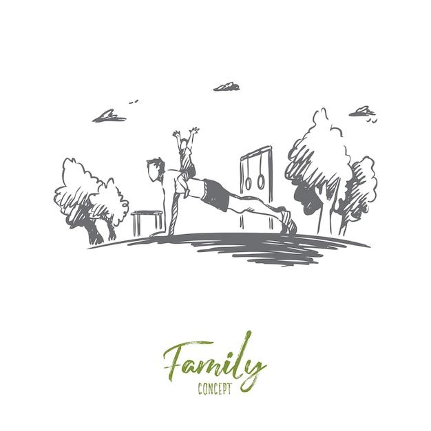 Familia, actividad, papá, niño, concepto de flexión. dibujado a mano joven padre haciendo ejercicios con su bosquejo del concepto de hijo. Vector Premium