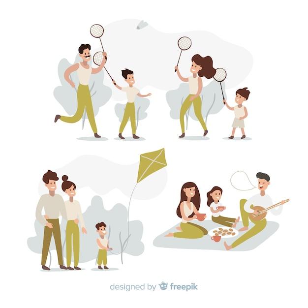 Familia al aire libre vector gratuito