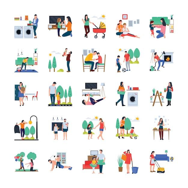 Familia, ama de casa, familia caminando iconos planos al aire libre Vector Premium
