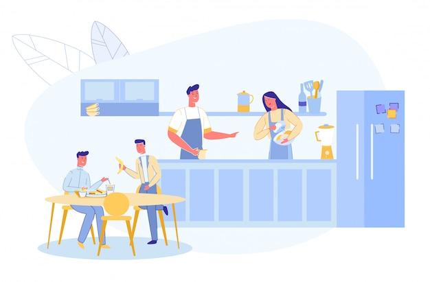 Familia antes o después del día de trabajo en la cocina del hogar Vector Premium