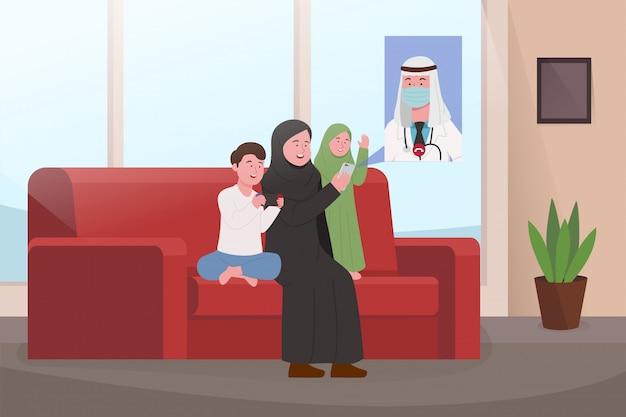Familia árabe en videollamadas caseras con el padre Vector Premium
