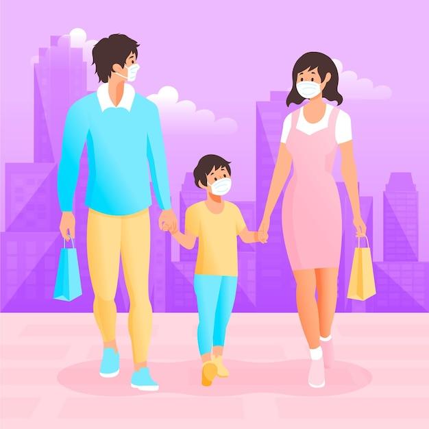 Familia caminando con mascarillas quirúrgicas vector gratuito