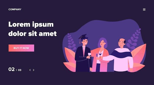 Familia celebrando la graduación universitaria del hijo. diploma, grado, estudiante de ilustración. concepto de educación y aprendizaje para banner, sitio web o página web de destino Vector Premium