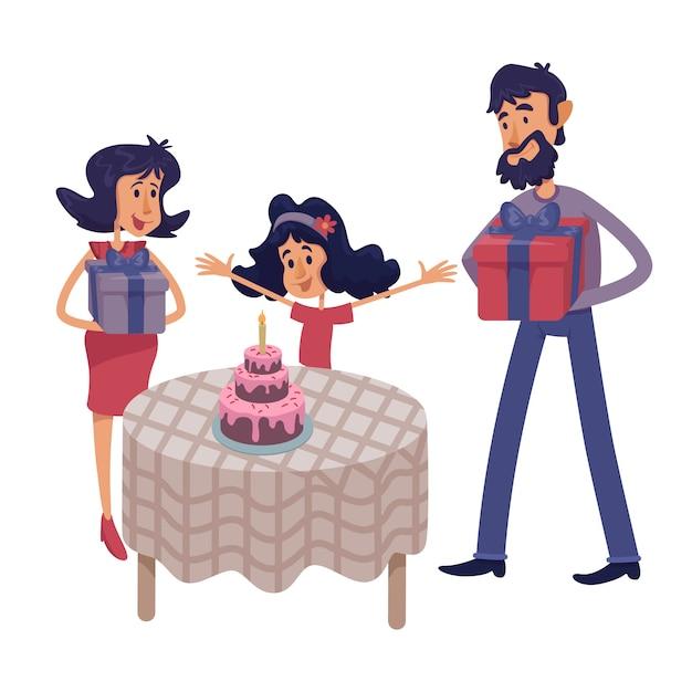 Familia celebrar niño cumpleaños ilustración de dibujos animados plana. padre y madre dando regalos al niño. Vector Premium
