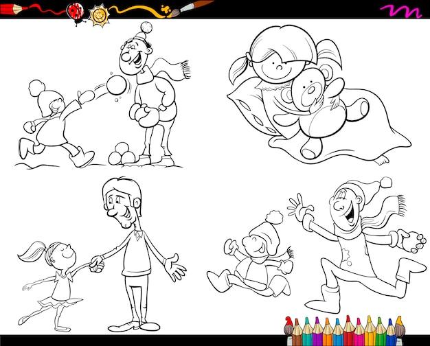 Familia para colorear dibujos animados conjunto de página ...