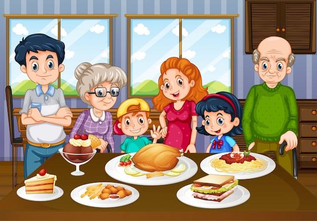 Familia comiendo juntos en el comedor descargar vectores - El comedor de familia ...