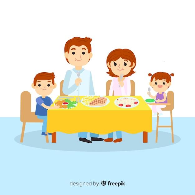 Familia comiendo vector gratuito