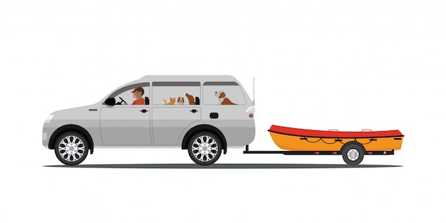 Familia conduce bote remolcador aislado Vector Premium