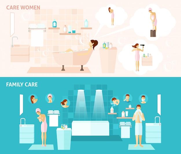 Familia y cuidado de la mujer banner vector gratuito