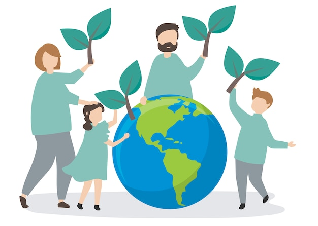 Familia cuidando el medio ambiente. vector gratuito