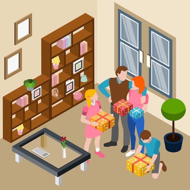 Familia dando cajas de regalo en casa vector gratuito