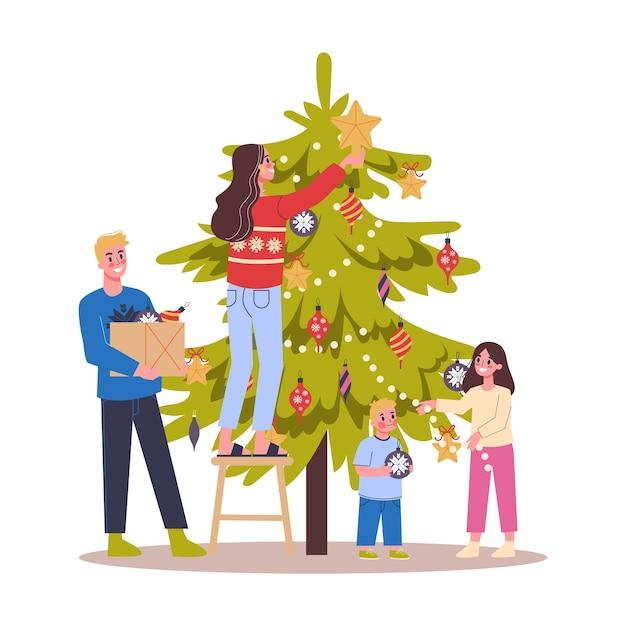 Familia decorando el árbol de navidad para la celebración. decoración tradicional de vacaciones para fiesta. gente feliz con regalos. ilustración en estilo de dibujos animados Vector Premium
