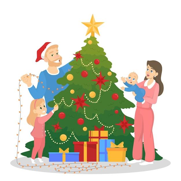 Familia decorando el árbol de navidad para la celebración. decoración tradicional de vacaciones para fiesta. gente feliz con regalos. ilustración Vector Premium
