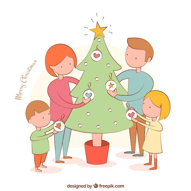 Familia Decorando El árbol Vector Premium