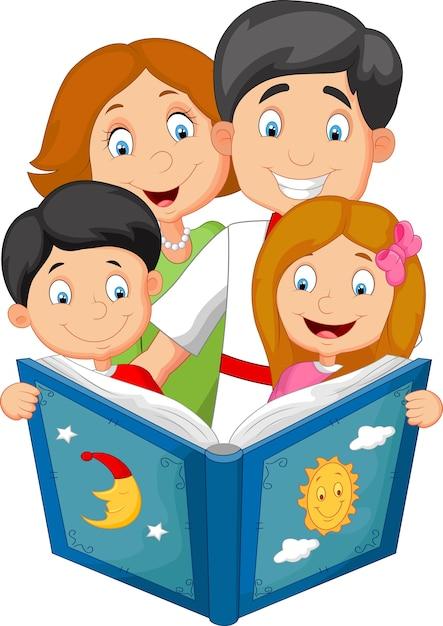 Familia de dibujos animados leer un cuento antes de dormir | Vector ...