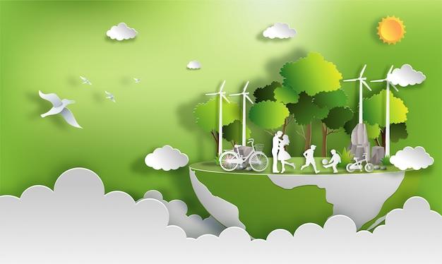La familia disfruta de actividades al aire libre con el concepto de ciudad verde ecológica Vector Premium
