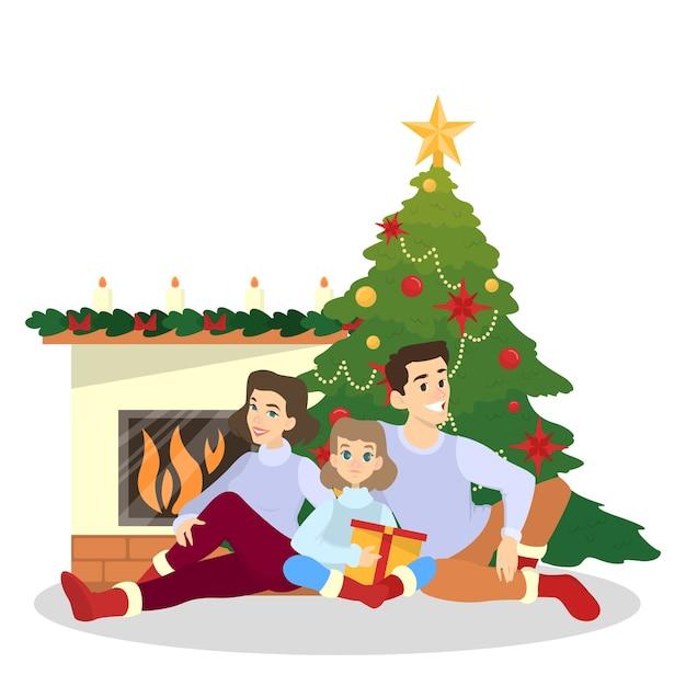La familia se divierte juntos en el árbol de navidad. decoración tradicional de vacaciones para fiesta. gente feliz con regalos en celebración sittinf en chimenea. ilustración Vector Premium