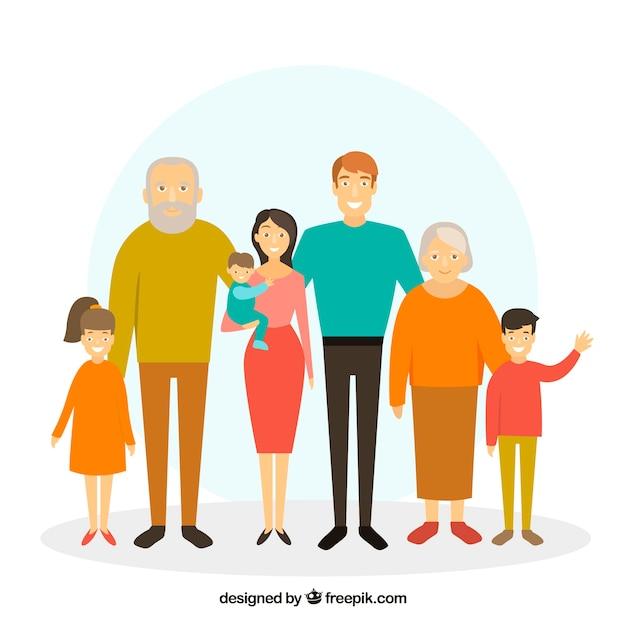 Familia en estilo flat vector gratuito