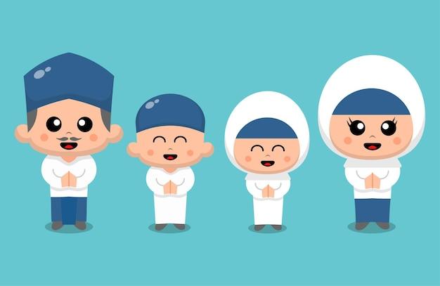 Una familia feliz aislada en turquesa Vector Premium