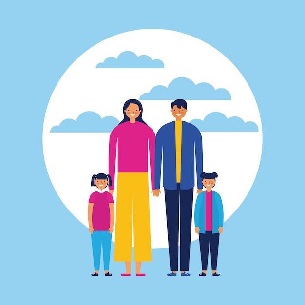 Familia feliz con bebés, estilo plano vector gratuito