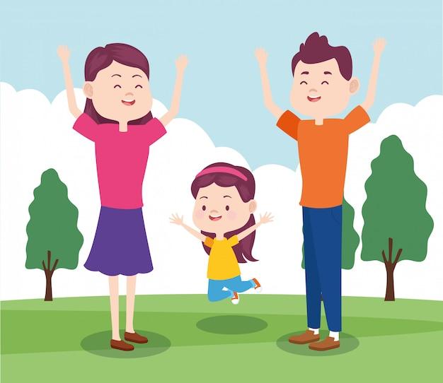 Familia Feliz De Dibujos Animados Con Niña En El Parque