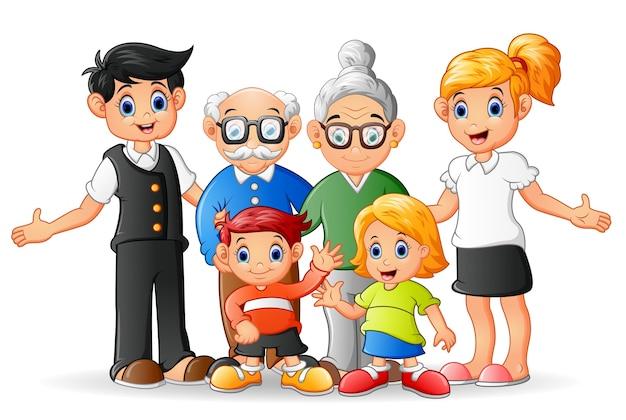 Familia Feliz De Dibujos Animados Descargar Vectores Premium