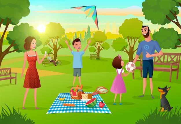 Familia feliz disfrutando de picnic Vector Premium