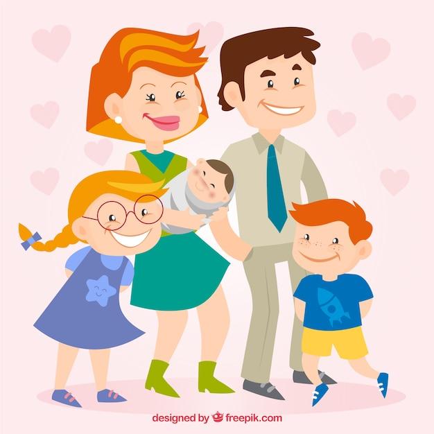 Familia Feliz En Estilo De Dibujos Animados Descargar Vectores Gratis