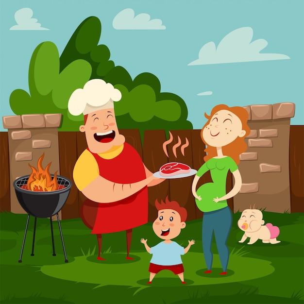 Familia feliz en una fiesta de barbacoa. ilustración de dibujos animados de mamá, papá, hijo e hija descansando en el patio de su casa. padres e hijos pasan un día de verano juntos. Vector Premium