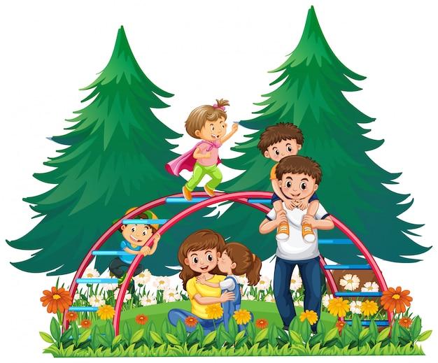 Familia feliz en el patio de recreo vector gratuito