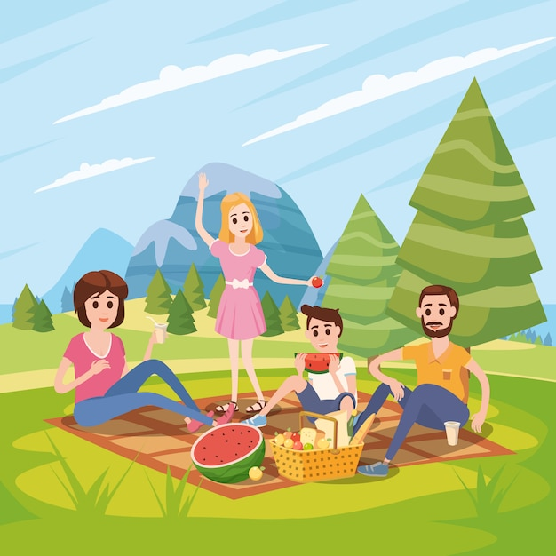 Familia feliz en un picnic, parque, al aire libre. papá, mamá, hijo e hija descansan y comen en la naturaleza, bosque. Vector Premium
