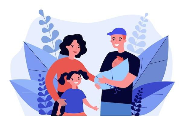Familia feliz de pie juntos. Vector Premium