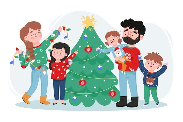 Familia feliz que adorna el árbol de navidad vector gratuito
