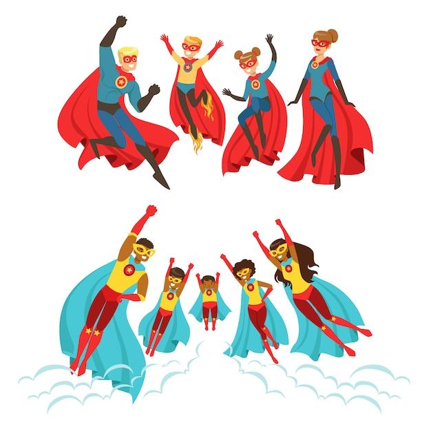 Familia feliz de superhéroes conjunto. padres sonrientes y sus hijos vestidos como superhéroes ilustraciones coloridas Vector Premium